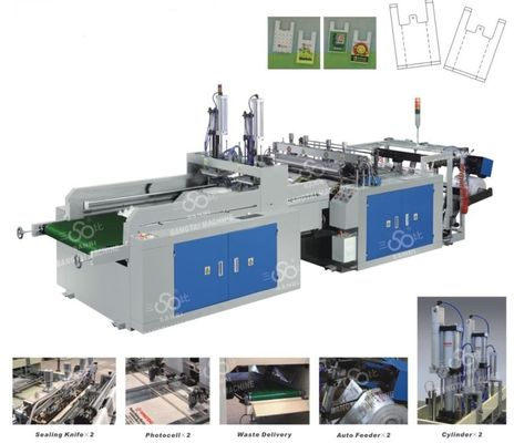 China Vest / T-Shirt Garbage Bag Making Equipment Computer Control supplier
