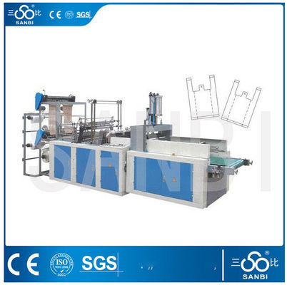 China Double Layers Automatic T-shirt Bag Making Machine For Flat / Garbage Bag supplier
