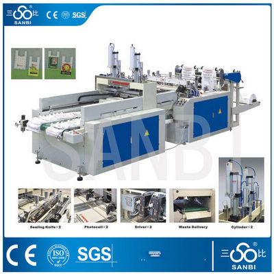 China 9Kw Auto Polythene Bag Making Machine / Equipment With Two Sealing knifes distributor