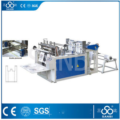 China Two Lines Hot Sealing T-shirt Bag Making Machine With Unwinding Machine distributor